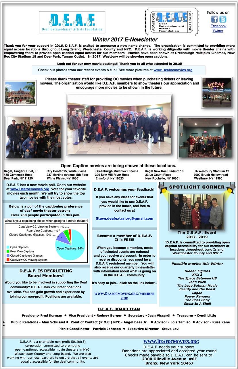 Winter Newsletter – 2017 – D.E.A.F. Open Caption Movies