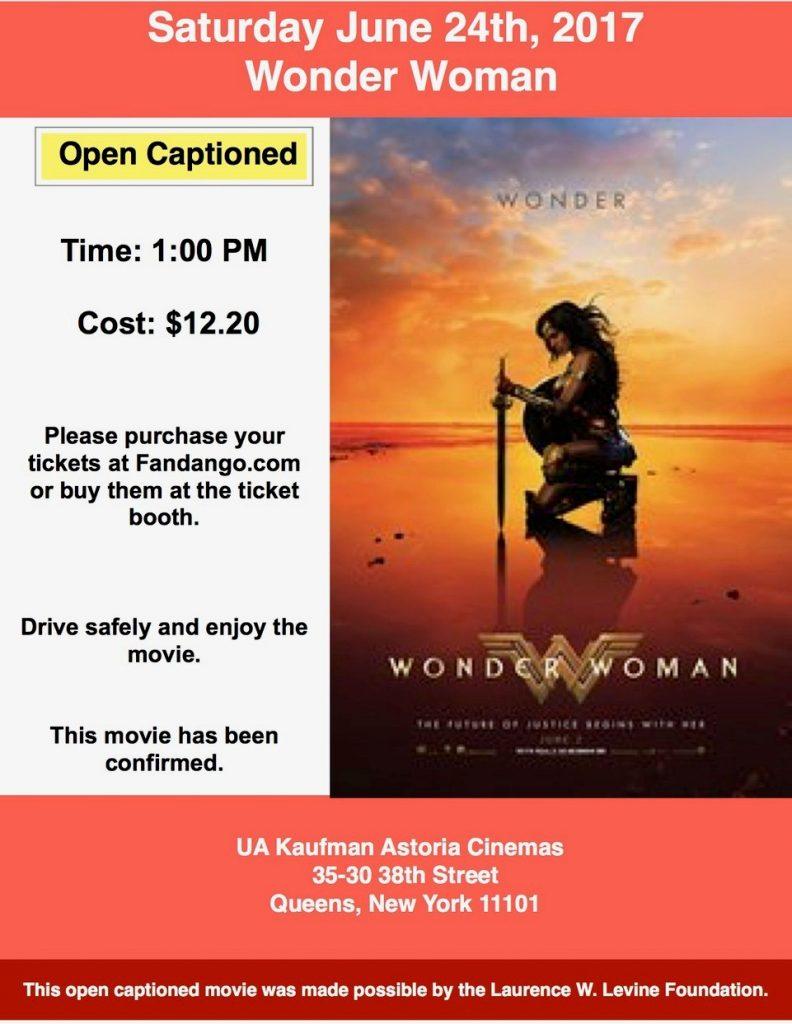 Wonder Woman – D.E.A.F. Open Caption Movies