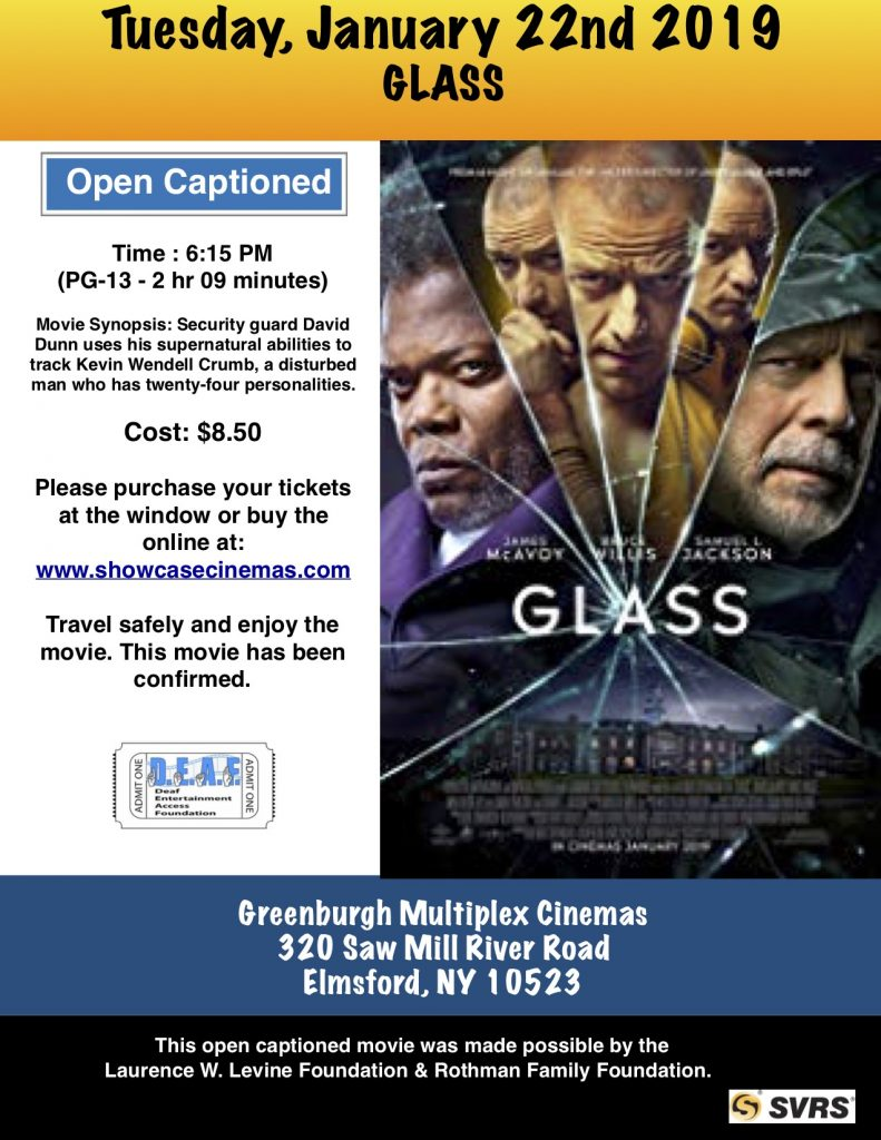 Glass – D E A F  Open Caption Movies