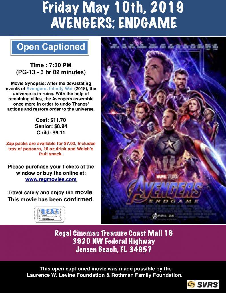 Avengers:Endgame – D E A F  Open Caption Movies