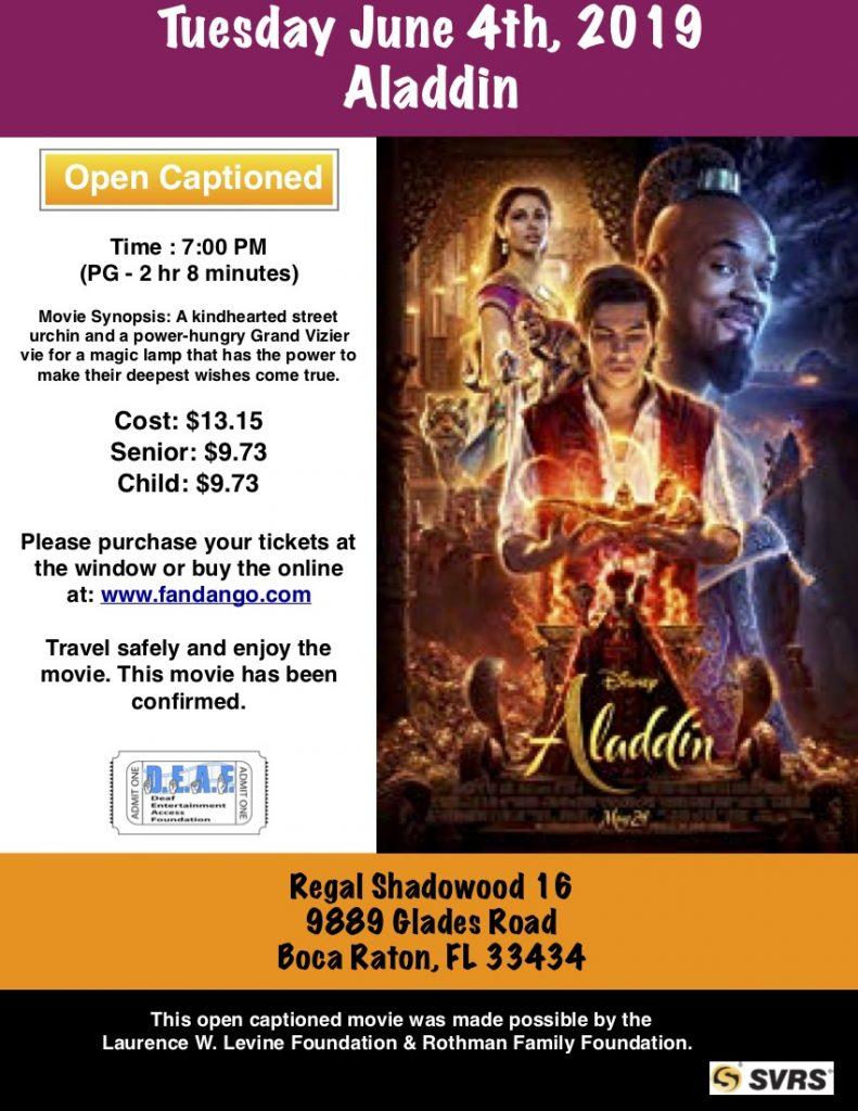 Aladdin – D E A F  Open Caption Movies